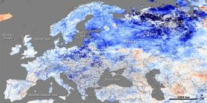 Sattelitbild som visar hur mycket kallare det är i europa än det brukar vara
